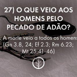 Pergunta 27: O que veio aos homens pelo pecado de Adão?