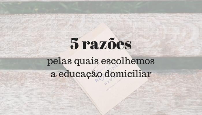 5 razões pelas quais escolhemos a educação domiciliar