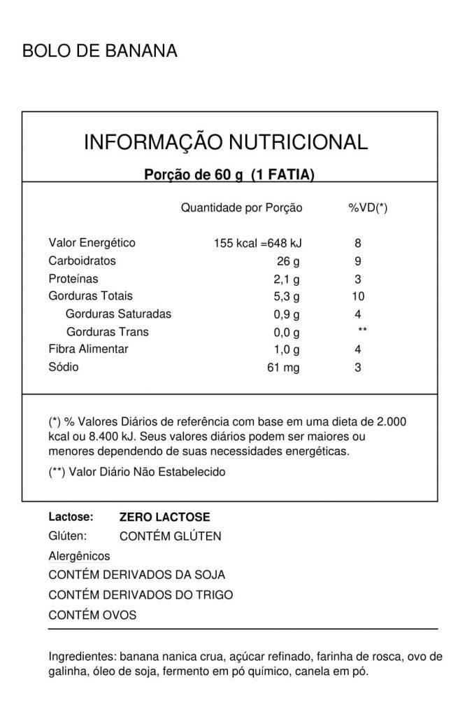 Tabela nutricional bolo de banana