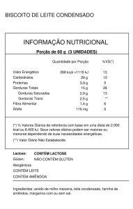Tabela Nutricional Biscoito de Leite Condensado